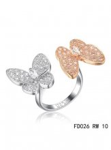 Van Cleef Arpels Two Butterfly Between The Finger Ring Pink Gold Round Pink Sapphires