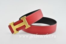 Hermes Reversible Belt Red/Black Classics H Togo Calfskin With 18k Gold With Logo Buckle