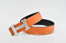 Hermes Reversible Belt Orange/Black Classics H Togo Calfskin With 18k Silver With Logo Buckle