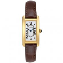 Cartier Tank Americaine small womens watch W2601556 18K yellow gold brown leather strap