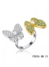 Van Cleef Arpels Two Butterfly Between The Finger Ring Yellow Gold Tsavorite Garnets