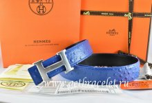 Hermes Reversible Belt Blue/Black Ostrich Stripe Leather With 18K Drawbench Silver H Buckle
