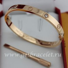 Replica Cartier Love Bracelet For Men and Women Pink Gold 4 Diamonds B6036016 (New Version - Prevent Screws Fall Out)