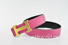 Hermes Reversible Belt Pink/Black Classics H Togo Calfskin With 18k Gold With Logo Buckle