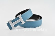 Hermes Reversible Belt Blue/Black Classics H Togo Calfskin With 18k Silver With Logo Buckle