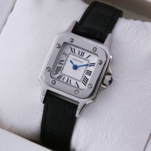 Cartier Santos 100 quartz small womens watch imitation steel black leather strap