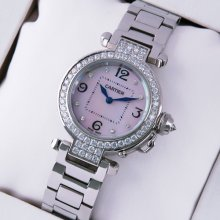 Cartier Pasha C diamond watch for women steel white mother of pearl dial