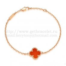 Van Cleef & Arpels Sweet Alhambra Bracelet Pink Gold With Carnelian Mother Of Pearl