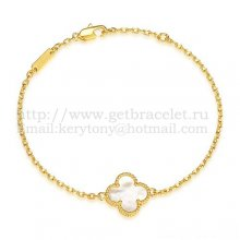 Van Cleef & Arpels Sweet Alhambra Bracelet Yellow Gold With White Mother Of Pearl