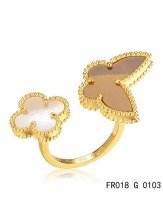 Van Cleef Arpels Luck Alhambra Between The Finger Ring Yellow Gold Stone Combination
