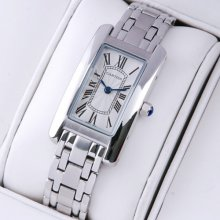Cartier Tank Americaine small watch replica 18K white gold W26019L1