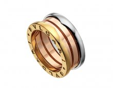 Replica Bvlgari B.zero1 3-Band Beautiful Mistake Ring in Rose White and Yellow Gold